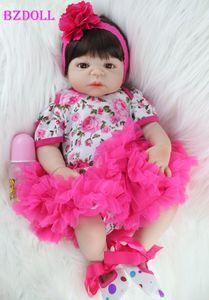 BZDOLL Full Body silicone Réincarné Baby Doll Toy réaliste nouveau-nés Princesse filles Bébés Doll Kid Brinquedos Bathe Toy T200712