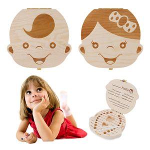10 Sprachen Baby-Zahn-Box für Baby-Save Milchzähne Jungen Mädchen Bild Holz Aufbewahrungsboxen Tooth Fall aus Holz für Kinder Andenken Organizer LJJA1182