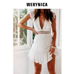 Werynica ropa nueva de verano para el vestido femenino del verano de 2020 mujeres bohemias de moda la mujer elegante vestido de la vendimia del cordón blanco