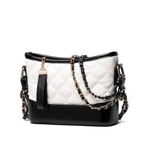 Мода роскошь овец кожи раздели длинные плетеные цепи классический мешок плеча ведра сумки для женщин дамы