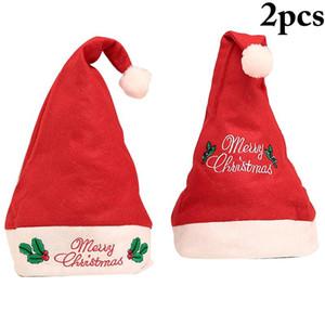 2pcs Christmas Ornaments Decoration Christmas Hats Santa Hats Children Women Men Boys Girls Cap For Party Props