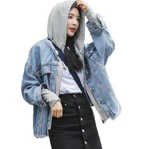 Femmes Denim Veste à capuche oversize Blue Jeans Veste Manteau Loose Women Casual Hiphop Streetwear Patchwork Coton Vêtements D690