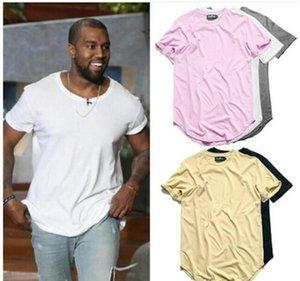 Kavisli Hem Hip Hop tişört Erkek Kentsel Kpop Genişletilmiş Tişörtlü Düz Longline Erkek Tee Gömlek Erkek Giyim