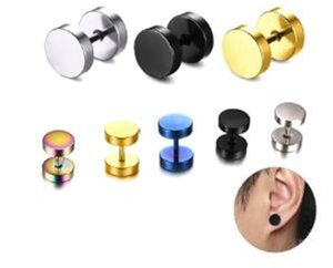 Fashion Stainless Steel Stud Earrings for Women Men Barbell Darbell Punk Gothic Retro Brincos