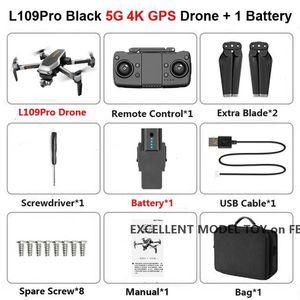 L109 Pro 4K HD ajuste elétrico Camera 5G WiFi FPV Drone, Gimbal dois eixos, Brushless Motor, GPS Optical Fluxo de Posicionamento, Siga-me, useu