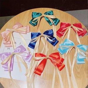 10pcs / lot Clip Sweet Girls Pin de pelo largo elegante Streamer cinta grande del pelo del arco princesa Gift agraciados Accesorios de las horquillas