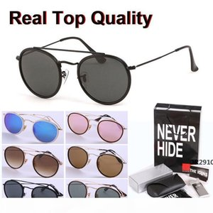 High quality Round Sunglasses Men women Alloy frame Mirrored glass lens Retro Eyewear with original box, packages, accessories DR29710