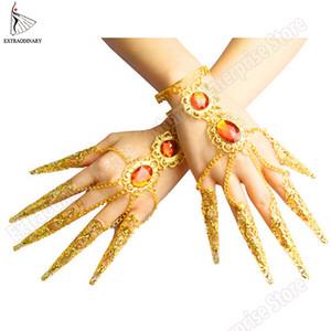 New Sexy Mulheres Dança do Ventre Dança Milhares Jóias Mãos Guanyin Bollywood Índia Pulseiras Unha Acessórios ouro