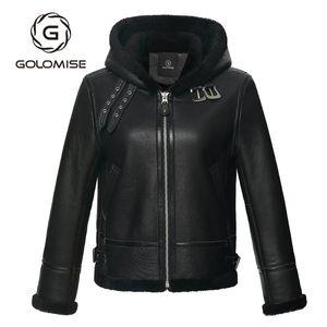 Golomise Women's Genuine Shearling Sheepskin Leather Jacket Coat Real Natural Merino Sheep Fur Lining with Hood