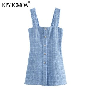 KPYTOMOA Mulheres 2020 Chic Fashion Jewel Botões desgastado Tweed Mini vestido vintage Backless Side Zipper Correias Feminino Vestidos Mujer