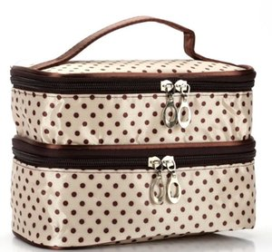 Designer Handbag 2020 New Arrival Fashion Explosion Model Wavelet Double Layer Small Dot Cosmetic Bag