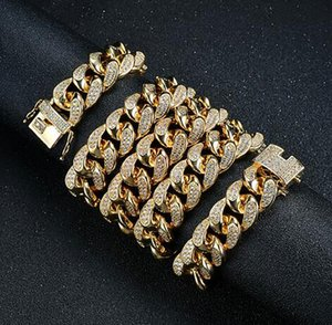 Mens 20mm 18-30inch Iced Out Heavy Miami Cuban Link Chain Necklace Hip hop Gold Silver Color Hiphop CZ Cubic Zirconia Jewelry
