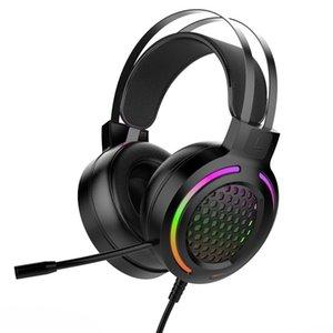 Luz Gaming Headphone Wired Redução de Ruído Stereo colorido Super Bass Headsets USB 7.1 canais PC Game Headset Com Mic-de-rosa para a menina