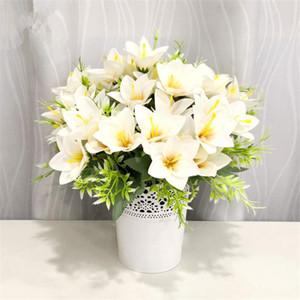 """Поддельный Korean Лиля (5 стеблей / пучок) 12,2"""" Длина Моделирование Lilium для свадебных дома Декоративных искусственных цветов"""