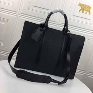 M45265 SAC PLAT HORIZONTAL zippé hombre maletín L patrón de flores 2020 nuevo estilo de la flor negro hombre clásico bolso de mano de cuero genuino