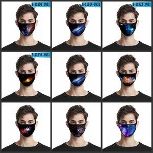 Starry Sky Polyester Pamuk Asma Maske 3D Dijital Baskı Bezi Yüz mascarilla Karşıtı Haze Rüzgar Toz Facemask Yıkanabilir 2 2ml B2