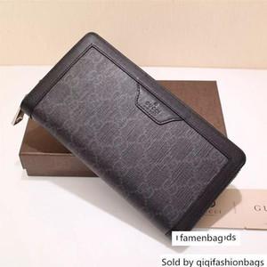 322147 Top Celebrity Design Letter Embossing Zipper Wallet Long Purse Canvas Leather Black Man Clutch