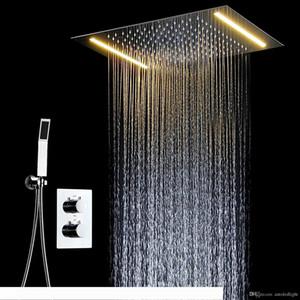 다기능 LED 욕실 샤워 세트 액세서리 수도꼭지 패널을 눌러 뜨거운 물 및 차가운 물 믹서 LED 천장 헤드 강우 폭포 샤워