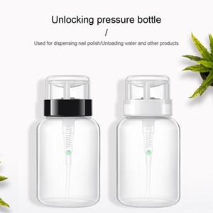 12*6cm 200ml Empty Plastic Unlocking Pressure Bottle Pumping Dispenser Bottle for Nail Art UV Gel Makeup Remover Tool TSLM2