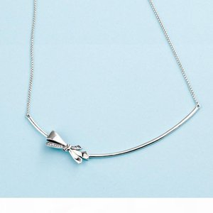 U Authentic 925 Sterling Silver Box Chain Pendant Necklaces Original Box For Pandora Women Silver Gorgeous Bow Necklace Mother &#039 ;S
