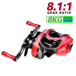 Baitcastingrolle 13 + 1 BB High Speed ​​8.1: 1 Übersetzungsverhältnis Casting Reel Fishing Messing Hauptradwelle Aluminum Handle Angelrolle