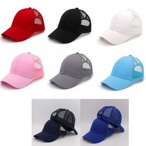 Katı At Kuyruğu Beyzbol Şapkası Dağınık Buns Şapka Trucker Pony Visor Cap Baba Şapka Mesh Yaz Açık Snapbacks Kızlar Caps IIA120 Caps
