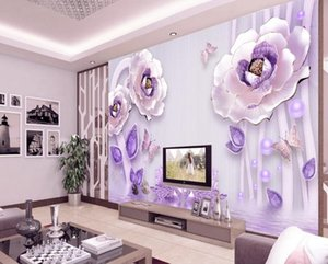 Custom Photo Wallpaper 3D Three-dimensional relief flower blooming rich peony Living Room TV Background Wall Decor Mural