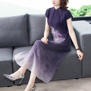 2020 Summer Middle-aged Mother Large Size Retro Silk Cheongsams Dress Long Improved Qipao Large Size 3XL 4XL