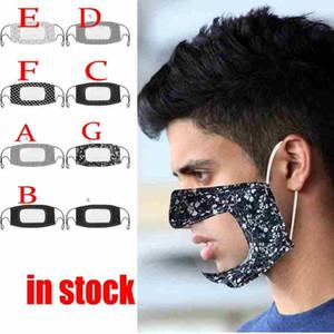 US Tissu en coton imprimé unisexe adulte bouche masque visage avec fenêtre transparente visibles Masques Deaf Mute coupe-vent anti-poussière lavable réutilisable FY9151