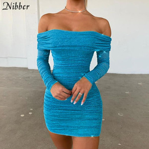 NIBBER brisket dresses sexy party shiny high waist mini wrinkle dress stretch Slim Soft bodycon black 2020 spring summer new