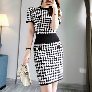 2020 Summer Houndstooth Knitted Korean 2 Piece Skirt Suits Sets Women Gold Buttons Tops + Mini Pencil Skirt Suits Fashion Sets