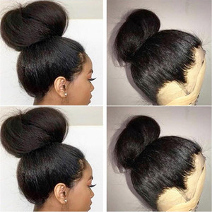 360 Lace Frontal Human Hair Wigs Pre Plucked Hairline Yaki Straight Full Lace Wigs Brazilian Remy Hair Wigs With Baby Hair