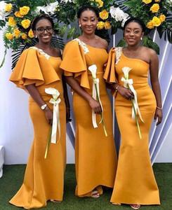 2020 New African Black Girl Cheap Mermaid Bridesmaid Dresses Long One Shoulder wedding guest dress vestido de boda invitado party dresses