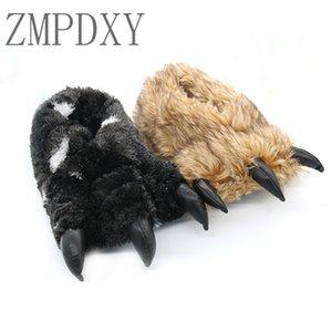 Frauen-Winter Bear Claw Baumwolle Hausschuhe Indoor Warm Pelz Slides Tier Schuhe Weibliche Plüsch Slides Hause Paar Schuhe Plüsch Hot
