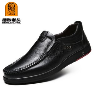 2019 Newly Men's Genuine Leather Shoes Size 38-47 Head Leather Soft Anti-slip Driving Shoes Man Spring Leather Shoes CX200731