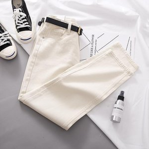 2020 New Spring and Autumn Fashion Women Loose Jeans with Belt Ankle Length Pants High Waist Pockets Zipper Straight Jeans Z112