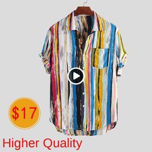 Männer Casual Shirts Art und Weise Qualitäts-Mann-Luxus stilvolles Mens Multi Color Lump Brusttasche Kurzarm Rund Hem Los Shirts Bluse