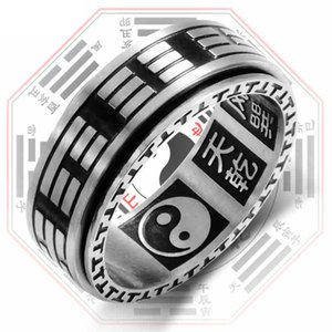 Vintage Tai Chi Mantra Black Fidget Spinner Ring With Pattern Rotatable For Men Mens Stainless Steel Anniversary Rings