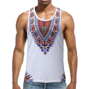 Adult Men Casual African Dashiki Slim Tank Tops Sleeveless Singlet T-shirt Fitness Undershirt White Vest 3X-Large Tee For Male T200702