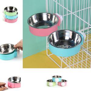Edelstahl-Haustier-Hundekatze-Schalen-Verschluss auf Cage Schalen-Feed Getränk Pet Supplies Dog Bowls Feeders drop ship