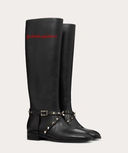 Perfect Brand Knee Boots Rock Stud Calfskin Leather Boot,Tall Ladies Girl Famous Winter Over the Knee Thigh High Boot 35-43