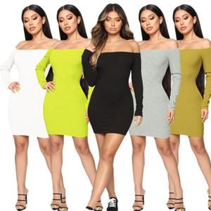 Slash manches longues femmes sexy robe d'été Encolure Forfait Tour de hanches Robe courte Noir Blanc Sexy Club Femme maigre Vestido