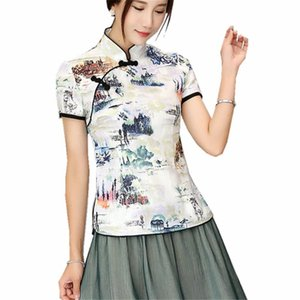 Shanghai histoire Mandarin Chemise à col qipao Femme haut chinois manches courtes cheongsam top blouse traditionnelle chinoise Lin