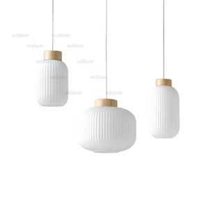 Creative Lantern Pendant Light Nordic White Glass Suspension Lamp Hotel Restaurant Living Dining Room Bedside Loft Wood Lighting