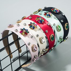 Personalized solid color satin cloth hairband female temperament multi-layer high-grade headband with full Diamond