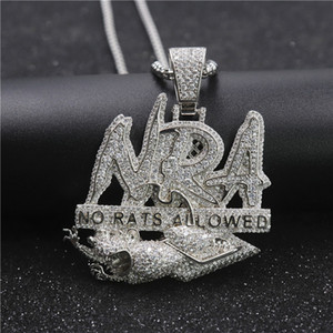 Hip Hop Letter Necklace NO RATS ALLOWED Pendant Iced Out Full Zircon Mens Bling Jewelry Gift