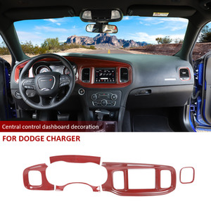 Guarnição tampa do painel Painel de fibra de carbono vermelho Console Interior para Dodge Charger 2015 UP Acessórios Interior