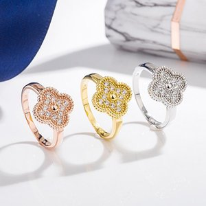 S925 sterling silver four-leaf clover diamond ring female personality trend original word bracelet