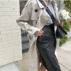 Trench Coat de Moda Estilo coreano Oversized Mulheres trespassado com Belt Office Lady Longo Windbreaker Primavera Outono