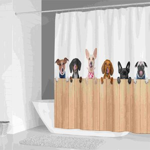 욕실 홈 인테리어 방수 폴리 에스테르 커튼 대형 3D 블랙 아웃 커튼 커튼 인쇄 샤워 사슴 동물 고양이 개